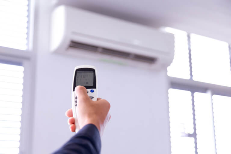 remote control of ductless mini split AC unit